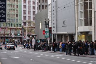 Hundreds lined up hours before the Apple store opened to purchase the iPad